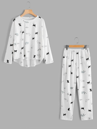 Cat Print Pajama Set