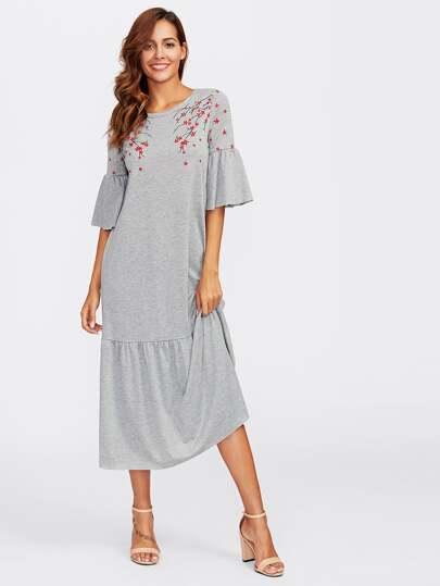 Flower Blossom Print Fluted Sleeve Tired Hem Dress