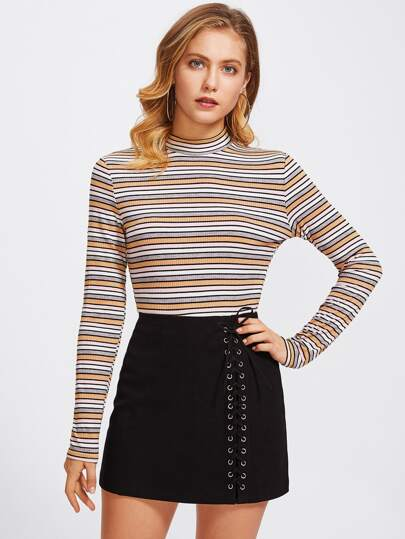 Mock Neck Rib Knit Striped Tee