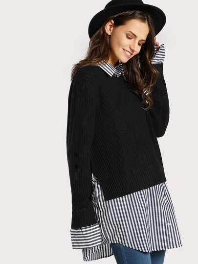 Stripped Button Up Underlay Ribbed Sweater BLACK