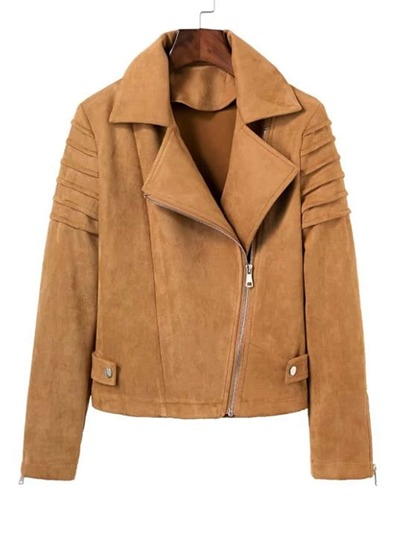 Zipper Detail Suede Biker Jacket