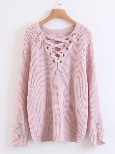 Lace Up V Neckline Raglan Sleeve Sweater