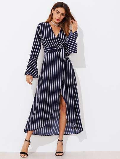 Fluted Sleeve Striped Surplice Tulip Hem Belt Dress