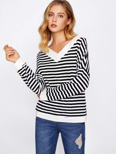 Double V Drop Shoulder Contrast Stripe Ringer Sweatshirt