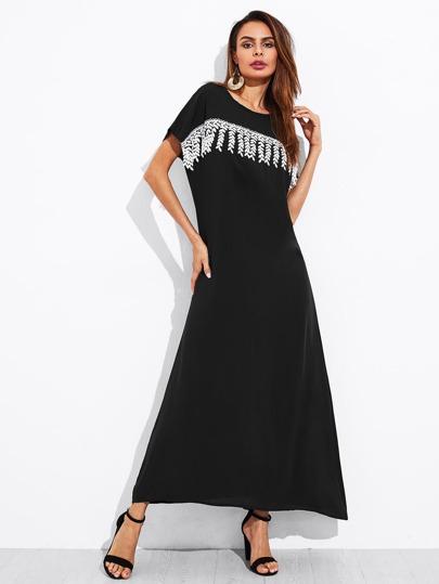 Dolman Sleeve Leaf Applique Dress