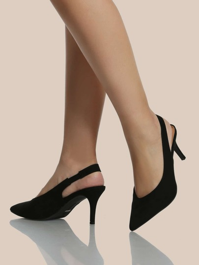 Point Toe Sling Back Heels BLACK