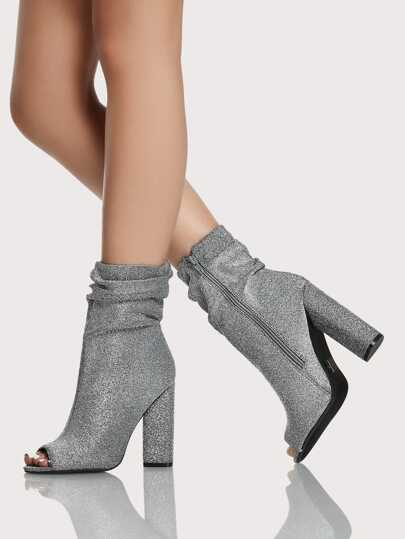 Metallic Glitter Shirred Peep Toe Bootie SILVER