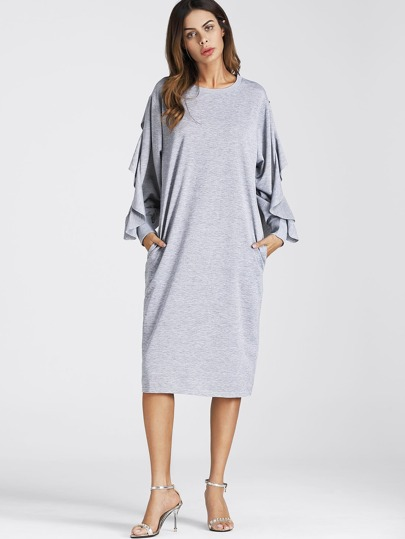 Split Exaggerated Frill Sleeve Dress