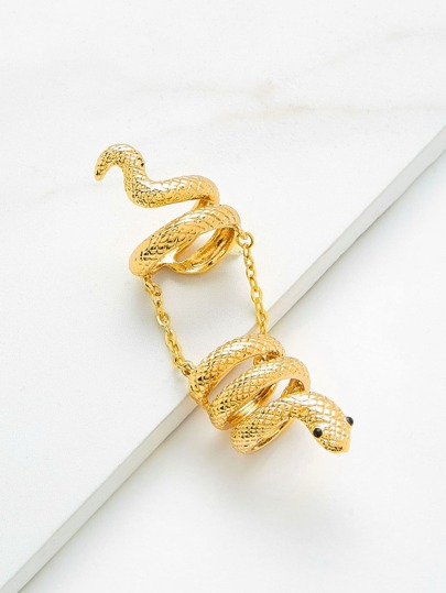 Snake Design Ring With Chain