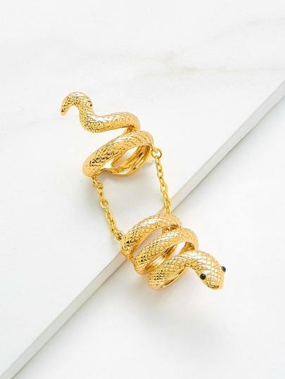 Anillo con diseño de serpiente y cadena