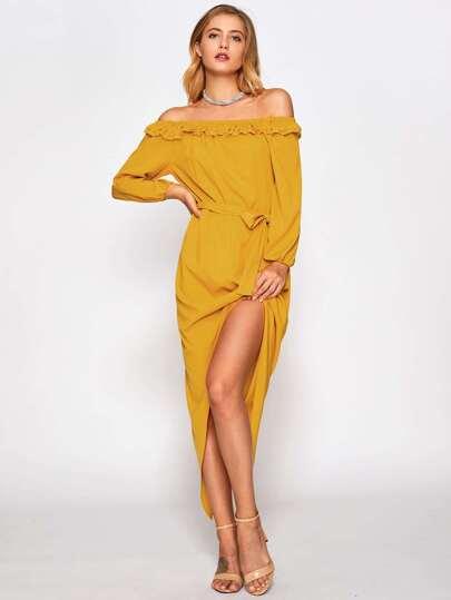 Off Shoulder Frill Trim Dip Hem Dress