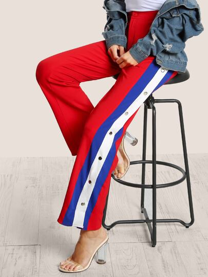 Side Striped Snap Button Track Pants RED