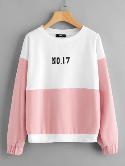Two Tone Print Sweatshirt