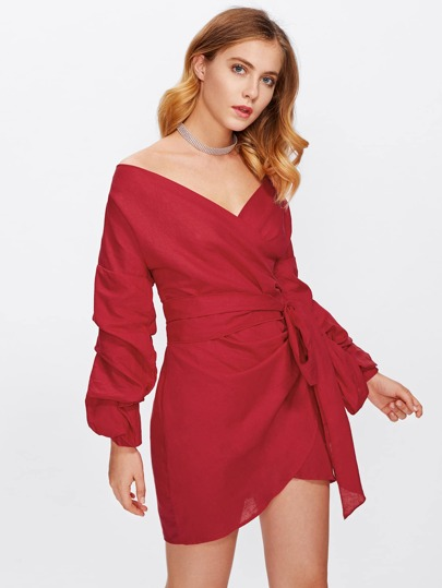 Ruched Sleeve Self Tie Bardot Wrap Dress