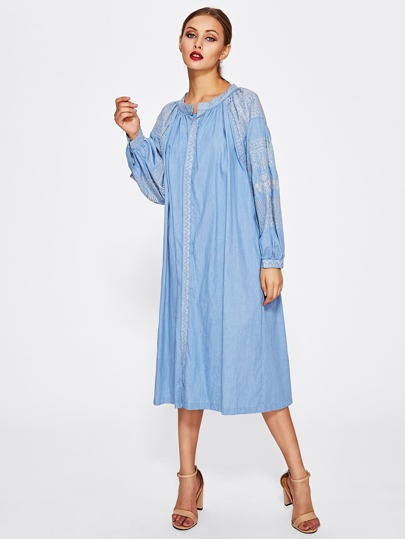 Embroidered Placket And Sleeve Denim Shirt Dress