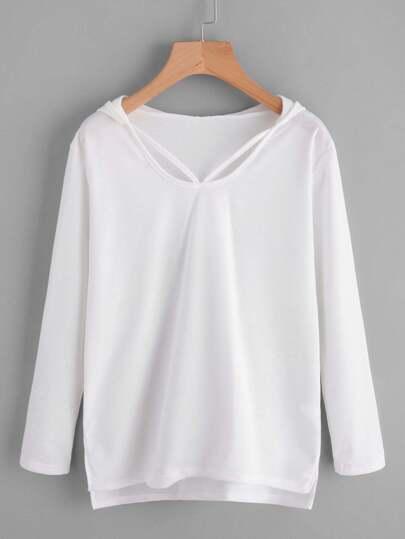 Dip Hem Split Side Hooded T-shirt