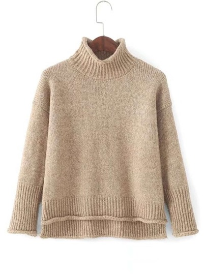 Dip Hem Rib Trim Sweater