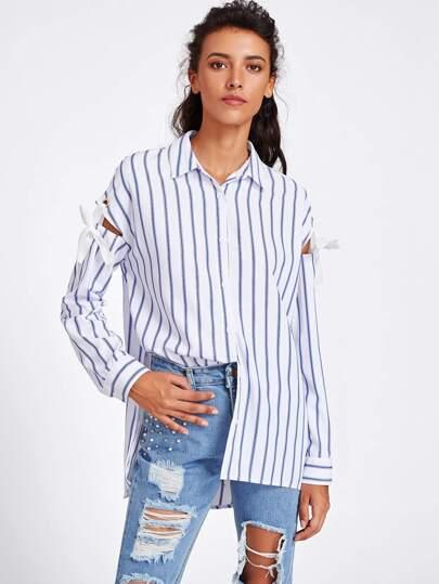Модная рубашка в полоску с вырезом и бантом