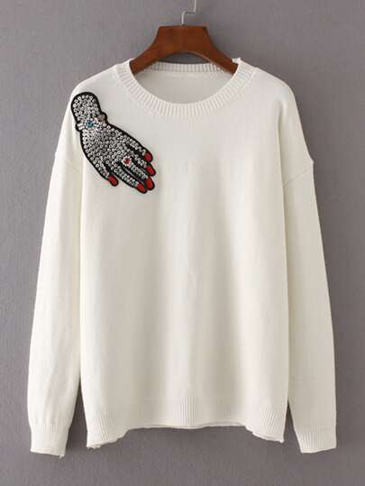 Sequin & Embroidered Patch Sweater