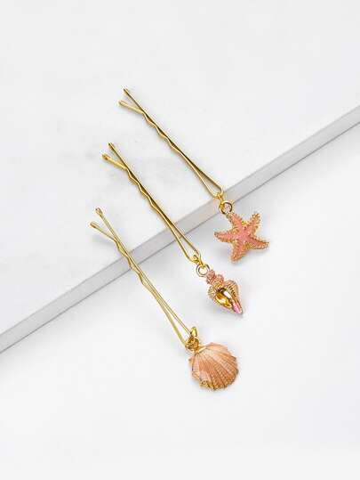 Shellfish Charm Hair Clip 3pcs