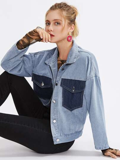 Contrast Pocket Drop Shoulder Denim Jacket