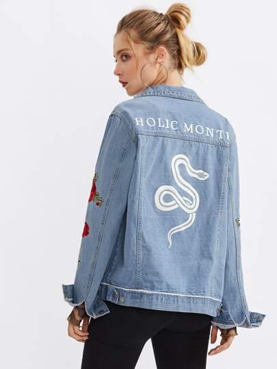 Snake And Flower Embroidered Denim Jacket