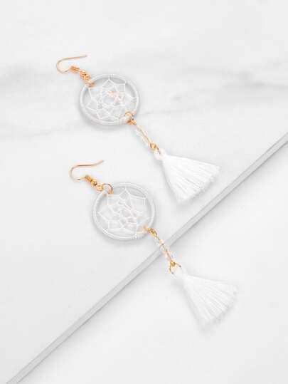 Dreamcatcher Design Tassel Drop Earrings