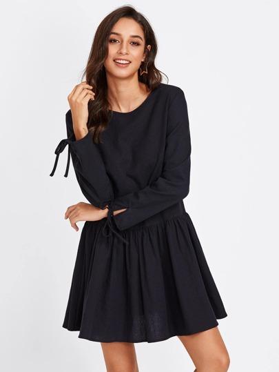 Tie Cuff Drop Waist Dress