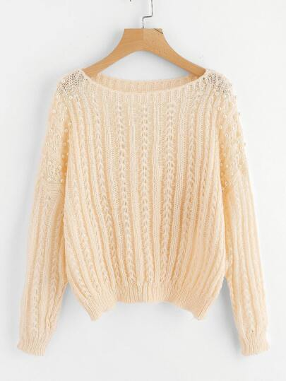 Pearl Beading Textured Jumper