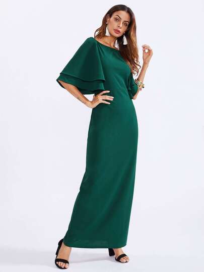 Layered Flutter Sleeve Column Dress