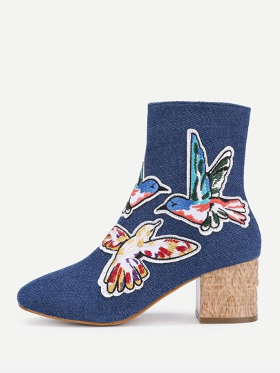 Bird Embroidery Denim Ankle Boots