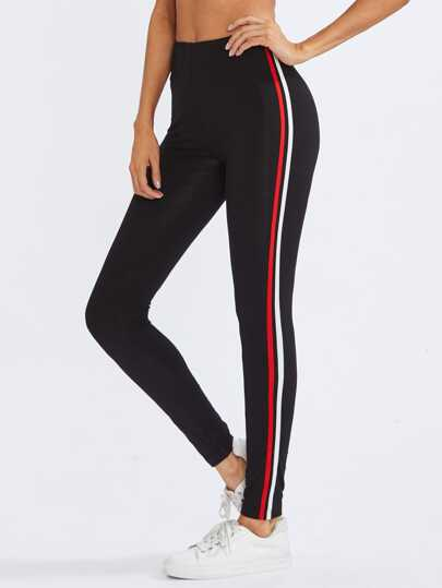Leggings rayure côté