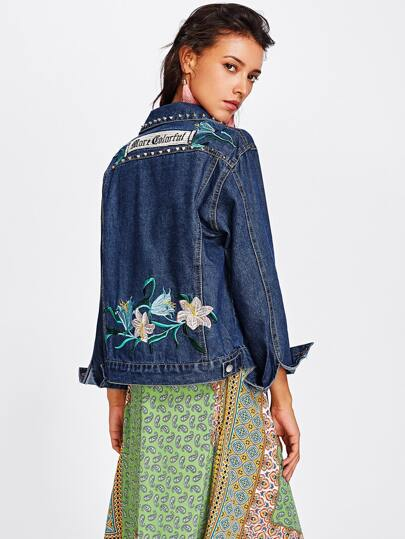 Flower Embroidered Rivet Decoration Denim Jacket
