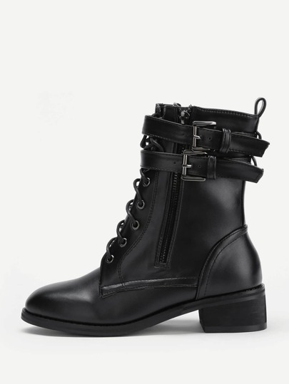 Double Side Buckle Lace Up PU Boots