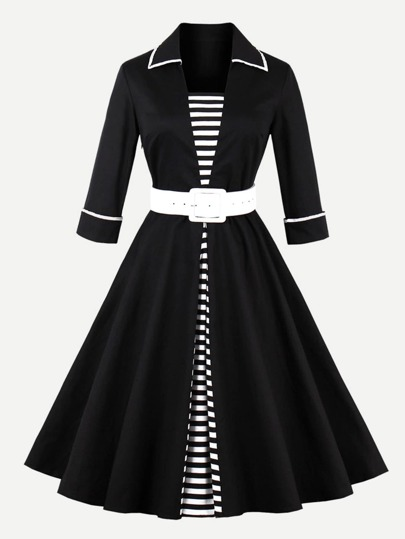 Contrast Trim Striped Panel Circle Dress