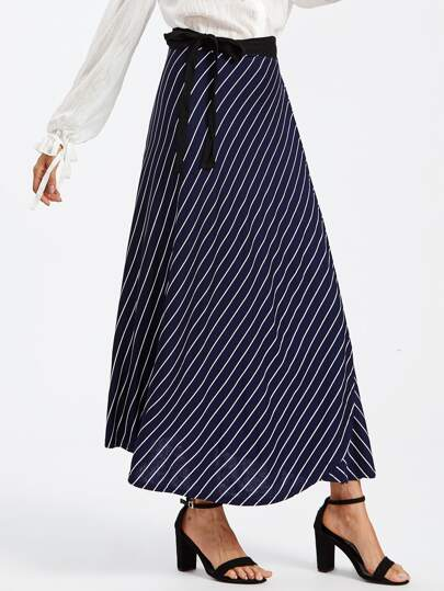 Striped Tie Side Wrap Skirt