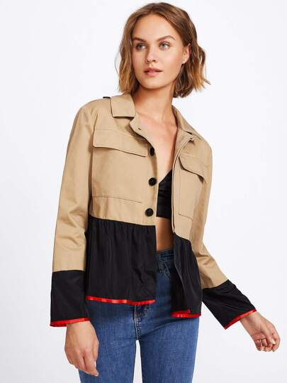 Contrast Cuff And Hem Hidden Placket Jacket