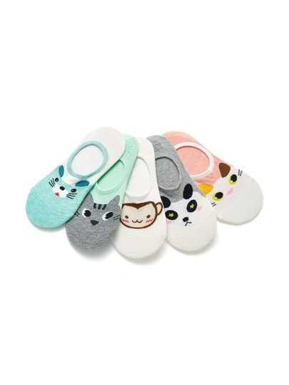 Chaussette invisible imprimé animal 5paires