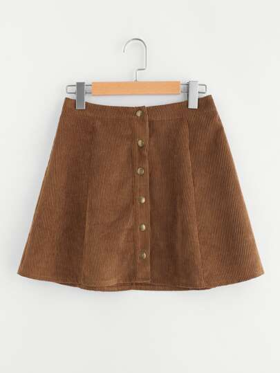 Buttoned Up Cord Skirt