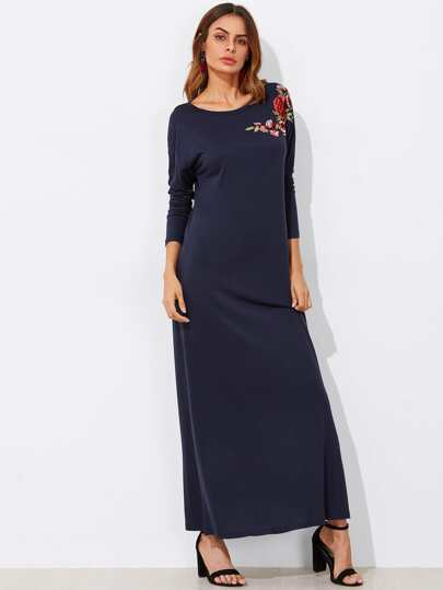 Embroidered Flower Applique Tee Dress