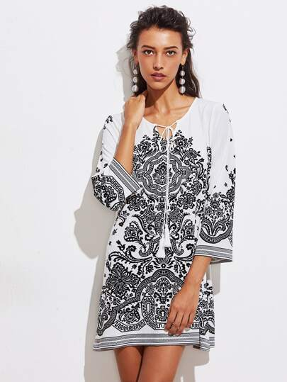 Tasseled Tie Neck Vine Print Dress