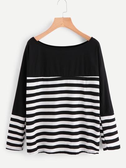 Contrast Panel Striped Tshirt