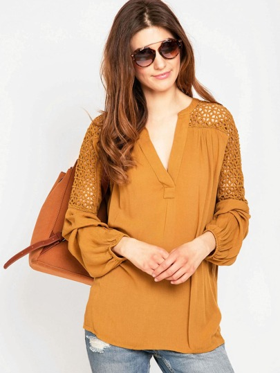 V Neckline Lace Panel Blouse