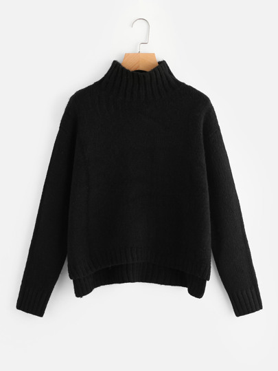 High Neck Stepped Hem Jumper