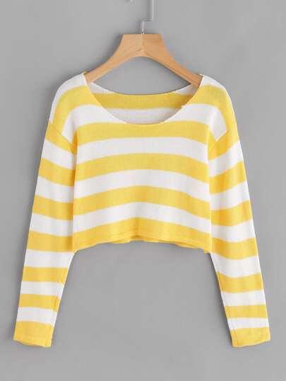 Maglione a strisce a contrasto
