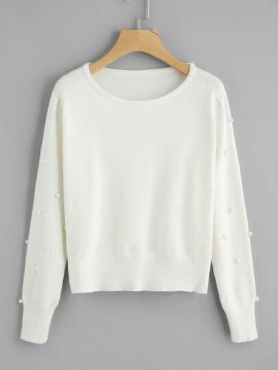 Pearl Beading Soft Knit Sweater