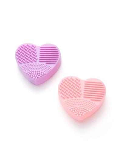 2 piezas de limpieza de pinceles en forma de corazón