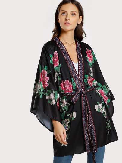 Floral Print Kimono BLACK