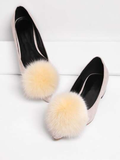 Pointed Toe Flats With Pom Pom