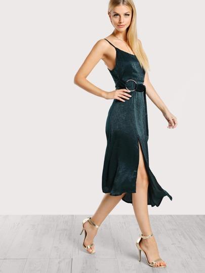 O Ring Spaghetti Strap Dress TEAL